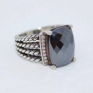 .925 David Yurman diamond and onyx ring size 8.5